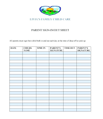 Parents Sign In Sheet Parent Sign Out Sheet For Sports Lytte Co