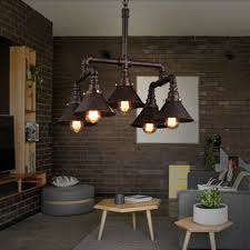 details about antique industrial steampunk water pipe ceiling light copper chandelier 5 lights