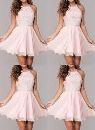 Light Pink Graduation Dress Light Pink Homecoming Dresses Chiffon Short Homecoming