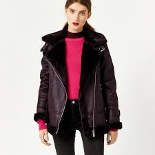 warehouse oversized biker jacket berry 1