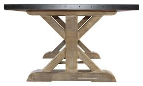 Metal Top Dining Tables Battery Park Zinc Top Dining Table Mortise Tenon