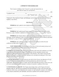 Sublease Form Sample Consent To Sublease Form Template Being A Landlord