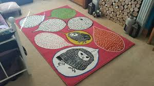 ikea gulort rug low pile funky owl design in great condition