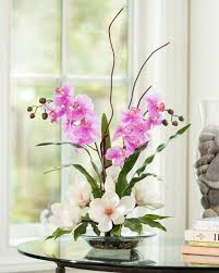 office floral arrangements. Exotic White Magnolia And Lavender Orchids Silk Floral Arrangement Office Arrangements T