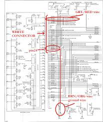 diy plasma gauges installation guide you can easily see all the ground wires at the bottom of the diagram and the one going into x16 white connector is brn org and it goes into pin24 of the
