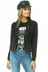 faux suede fringe trim jacket