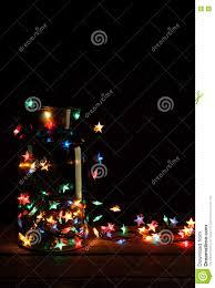 Weihnachtslichter Im Glasgefäß Auf Holz