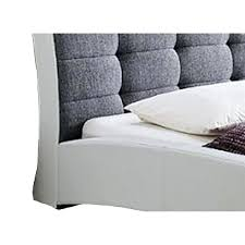 upholstered leather sleigh bed. Leather Sleigh Bed Queen Upholstered In White Faux I