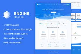 Bootstrap Light Blue Engine Hosting Html Template Blue Bootstrap Business