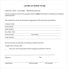 Letter Of Intent To Bid Template Letter Of Intent Sample 5 Templates