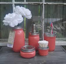 coral mason jar soap dispenser bath set