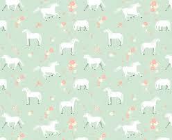 Behang Met Paarden Patroon Mintgroen