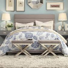 Corbett Horizontal Tuft Grey Linen Upholstered Queen Bed by iNSPIRE Q  Classic by iNSPIRE Q
