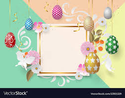 Easter Template Happy Easter Template With Gold Ribbon And