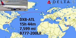 dubai dxb atlanta atl is scheduled at 15 hr 44 mins of flying and covers 7599 miles on deltas boeing 777 200lr atlanta tel aviv business