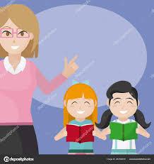 Woman Teacher School Kids Cartoons Vector Illustration