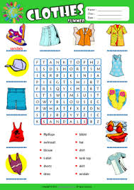 Summer Clothes Word Search Puzzle ESL Vocabulary Worksheet