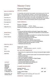 Format De Cv G N Ral General Manager Resume Example Job Description