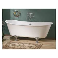 home winchester 68 inch cast iron double ended clawfoot tub no faucet drillings