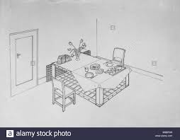 civil defence in britain indoor air raid shelters c 1941 a photograph of a line drawing morrison shelter use as table during the day with food mattress i37 drawing