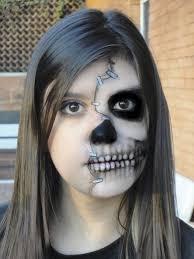creepy makeup double skull makeup half face skull