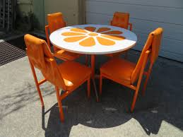 Fun Orange Slice 1960s Dining Table Four Chairs Probber Style Mid