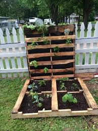 backyard garden with picket fences and pallet gardening