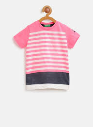 United Colors Of Benetton India Size Chart United Colors Of Benetton Pink White Striped Round Neck T Shirt