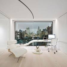 stylish home office computer room. Enchant Home Office With Unusual Desk Shape Personal Computer And Notebook White Stool Cozy Sofa Image Stylish Room