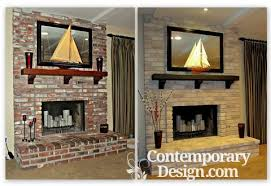 old red brick fireplace has been painted in grey color before and after photo