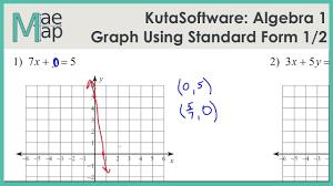 kuta algebra 1 graphing lines standard form part 1
