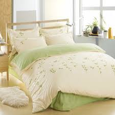 100 cotton leaf bedding set green bed sheets embroidered duvet cover queen comforter sets king cotton bed linen in bedding sets from home garden on