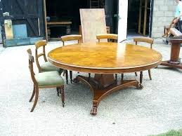 large round dining table dinner diameter regency revival burr oak to seat glass seats with revolving