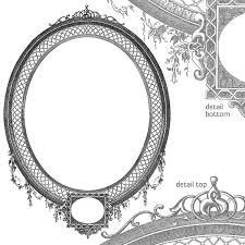 vector art frame antique oval detailed engraved