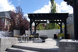 patio with fire pit and pergola. Endearing Black Costco Pergola With Aluminium Canopy And White Ball Light Also Iron Fireplace Plus Patio Fire Pit