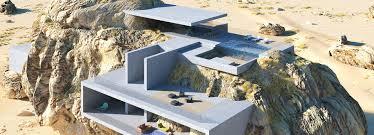 Design A Rock House Inside A Rock Shows Concrete Slabs Contrasting