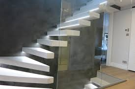 Tailor-made Hanging Beton Cire Stairs and Feature Wall modern-staircase