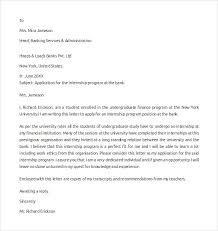 Internship Application Letter Sample Internship Cover Letter Example 12 Download Free