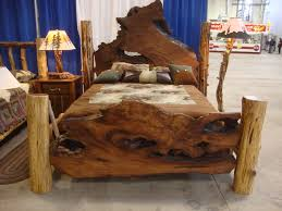 sublime country bedroom furniture ideas with log wooden rustic bed with rustic table lamps as decorate rustic interior designs