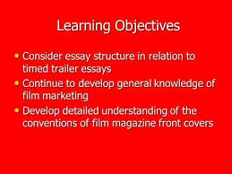 english media unit film dvd covers dvd covers dvd cover  learning objectives learning objectives consider essay structure in relation to timed trailer essays consider essay structure