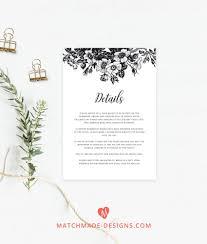 Wedding Insert Templates Black White Wedding Details Card Template Floral Wedding