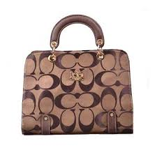 Coach Borough Logo Medium Coffee Satchels DOV