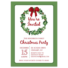 printable christmas party invitation template christmas wreath printable holiday party invitation wreath