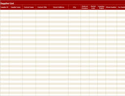 Vendor List Excel Template Supplier List Legal Size