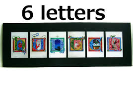 6 letter name six letter art with 6 letters in medieval illuminated letter