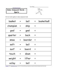 best resources sports images baseball sport worksheets for kids make compound words sports