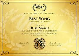 Honorable Mention Certificate Cat Ellington