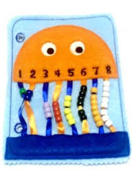 orange jellyfish bead counting page quiet book page touching and colors help children to learn