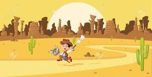 33211318 Cartoon Cowboy Kid Galloping On