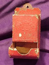old tin rustic red painted match holder or match box holder